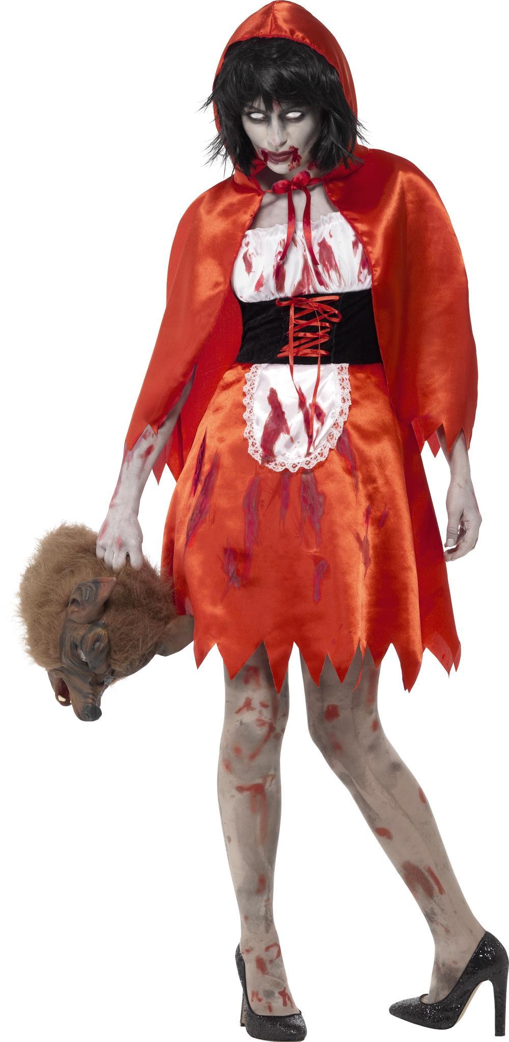 Zombie Red Riding Hood Ladies Fancy Dress Horror Adults Halloween Womens Costume