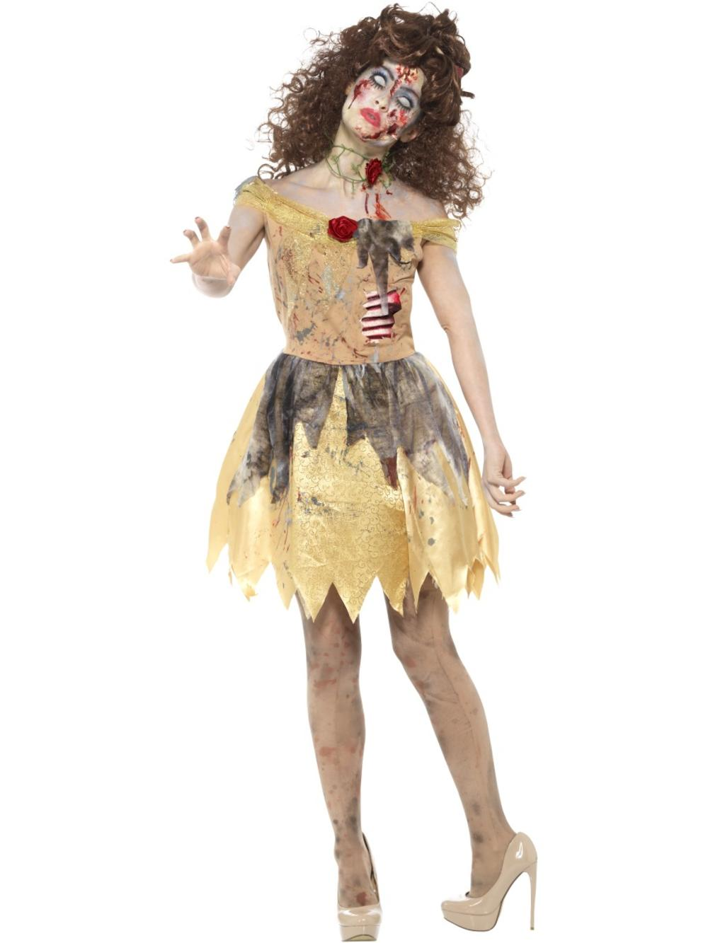 Dead Zombie Princess Golden Fairytale Adult Womens Halloween Fancy Dress Costume