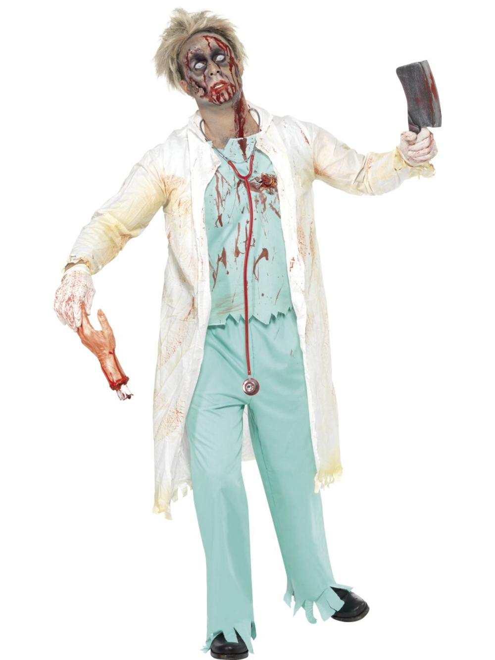 Zombie Doctor Mens Fancy Dress Halloween Undead Hospital Adults Costume Outfit