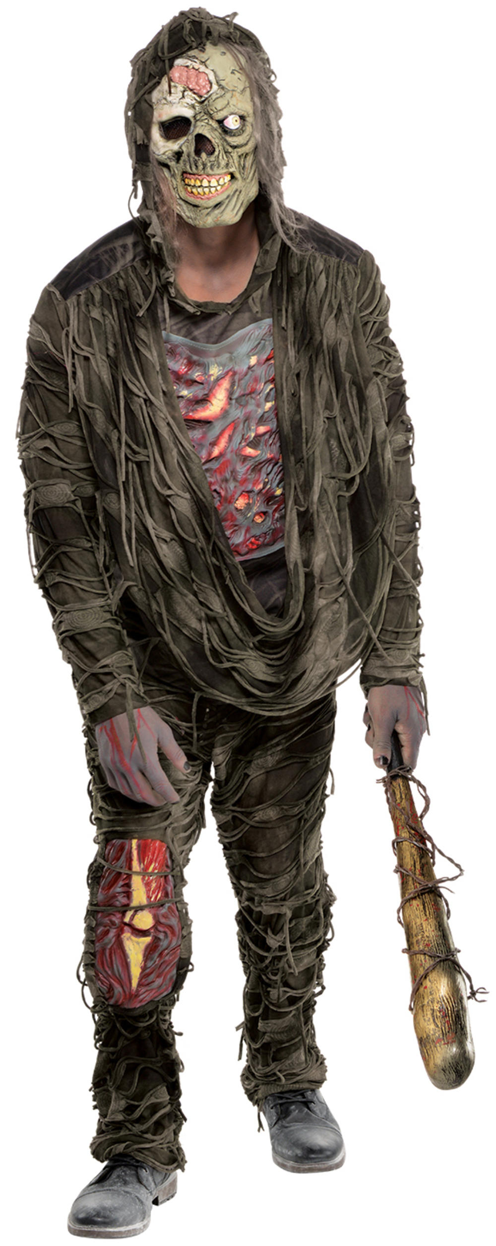 Zombie Creeper Mens Fancy Dress Halloween Undead Gorey Adults Costume Outfit New