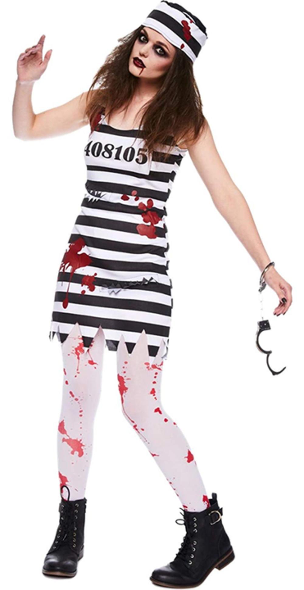 Zombie Convict Ladies Fancy Dress Halloween Prisoner Womens Adult Costume Outfit