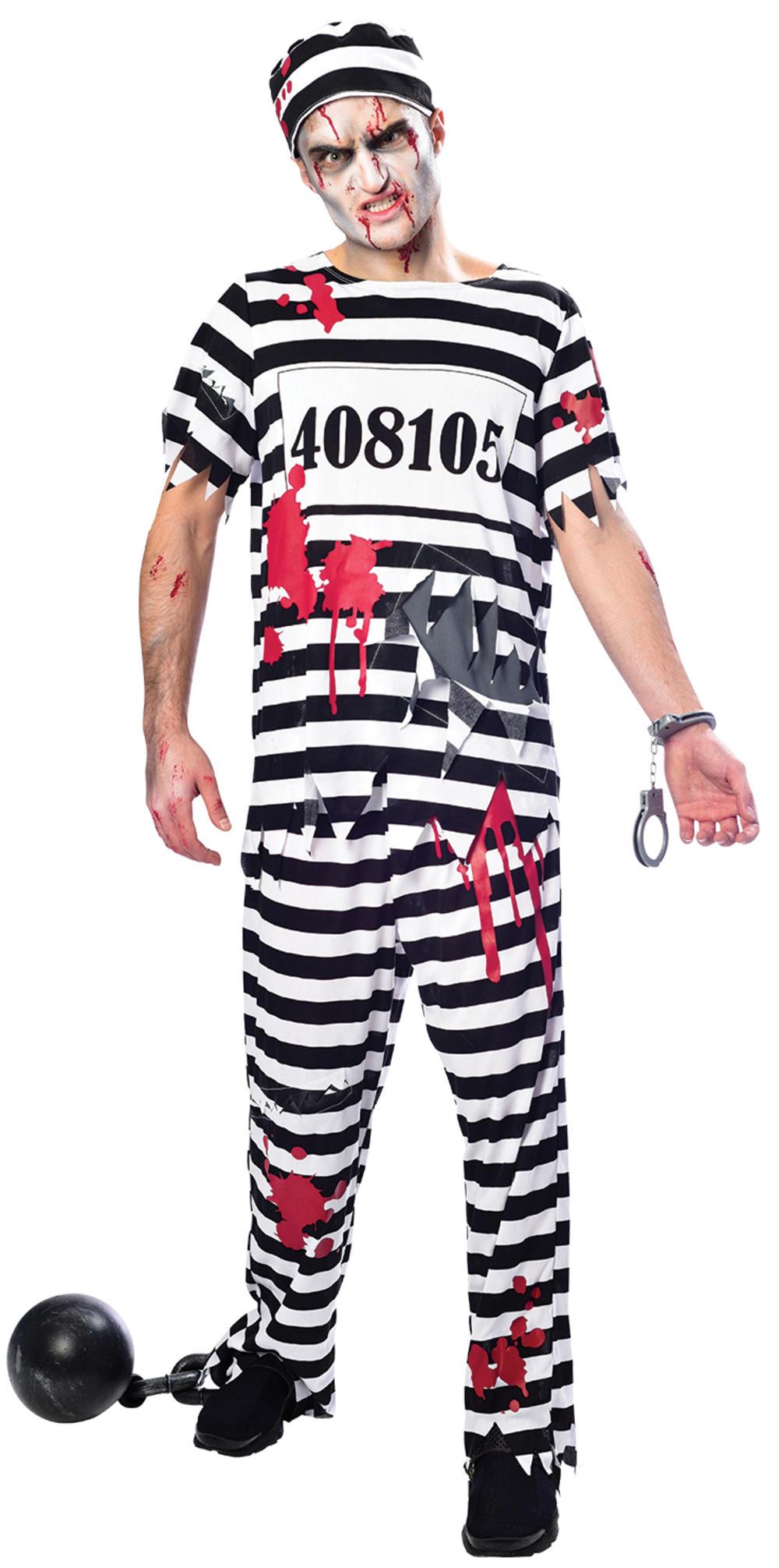 Zombie Convict Mens Halloween Fancy Dress Inmate Prisoner Uniform Adult Costume