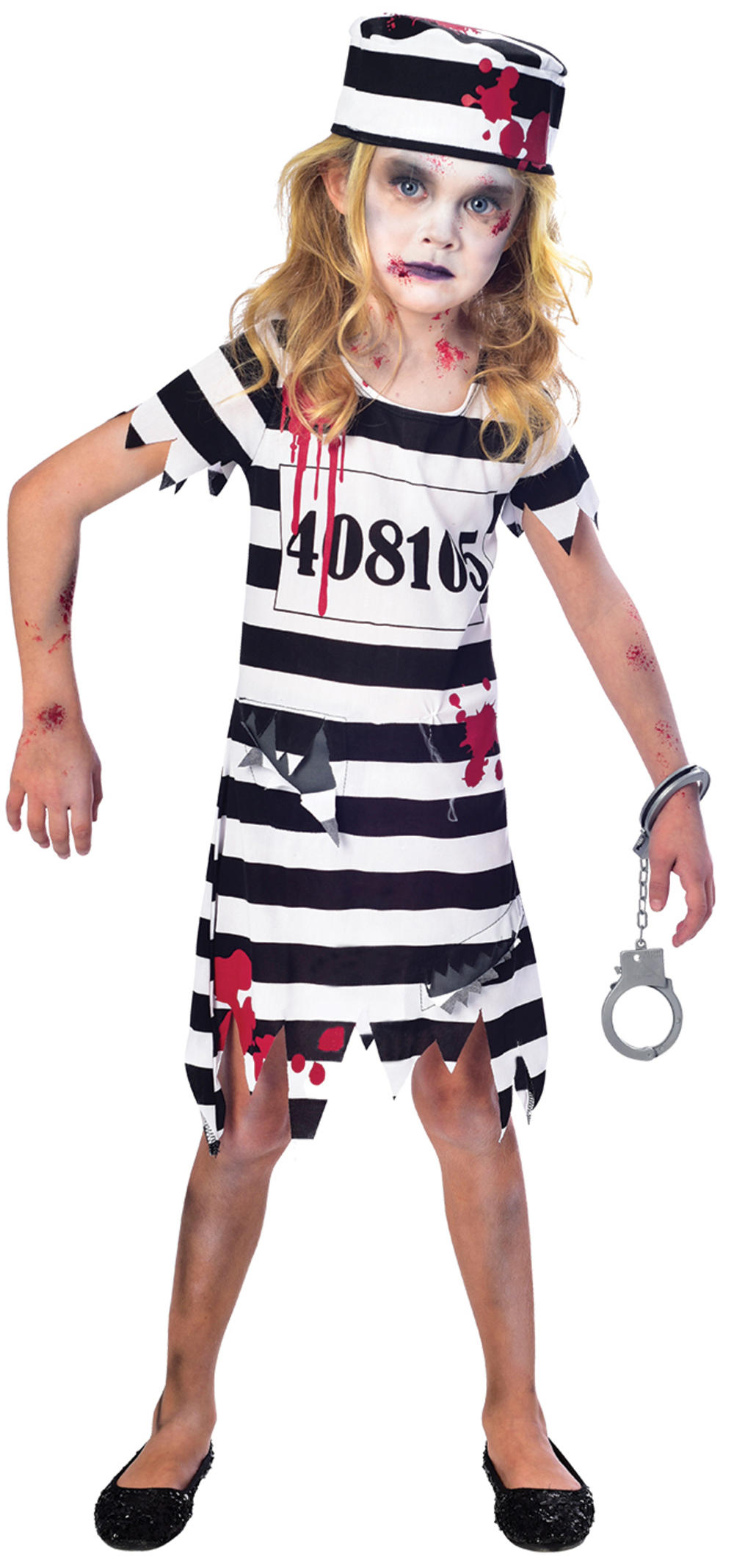 Zombie Convict Ladies Halloween Fancy Dress Prisoner Uniform Womens Costume New