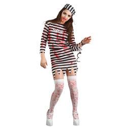 Zombie Convict Ladies Fancy Dress Prisoner Uniform Adults Halloween Costume