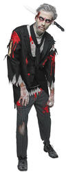 Bloody Zombie Butler Mens Fancy Dress Halloween Horror Adults Costume Outfit New