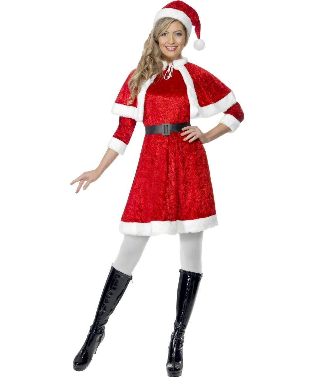 Miss Santa Ladies Fancy Dress Mrs Claus Father Christmas Adults Festive Costume