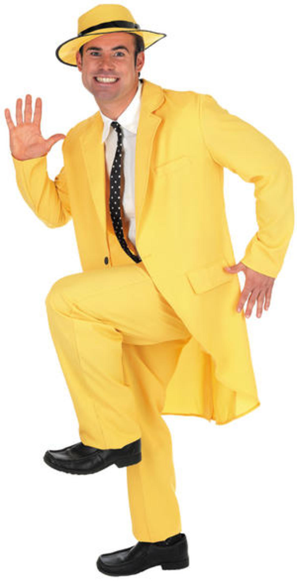 Yellow Zoot Suit Mens Gangster Fancy Dress The Mask Jim Carrey Adult Costume New