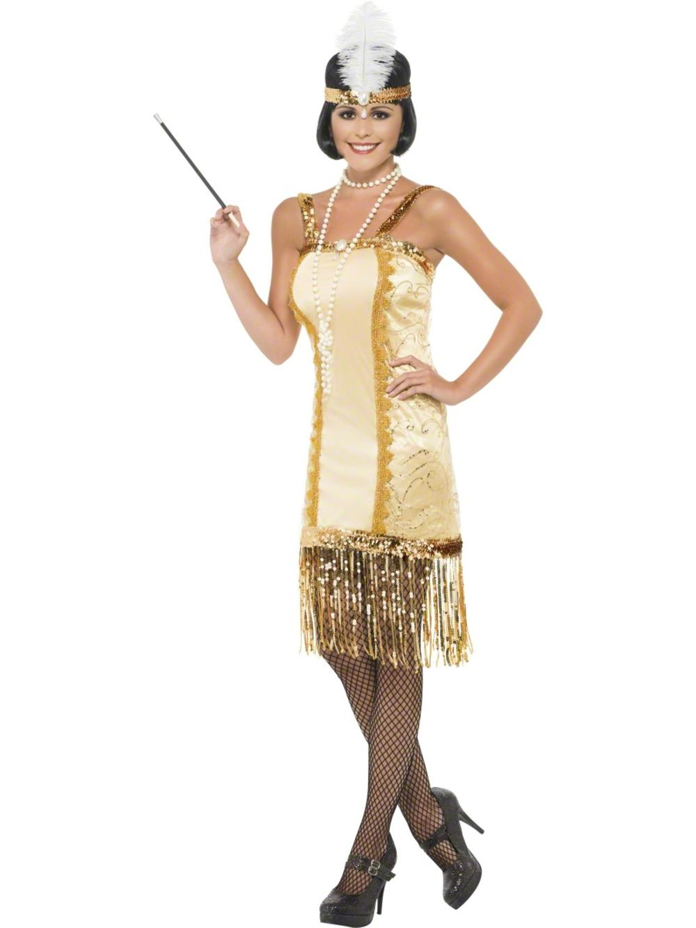 Gold Charleston Flapper Ladies 1920s 30 Fancy Dress Gatsby Womens Adults Costume