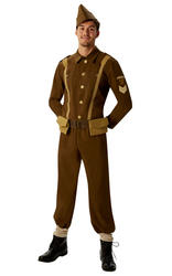 Soldier Mens Fancy Dress British History 40s Army Officer Uniform Adult Costume