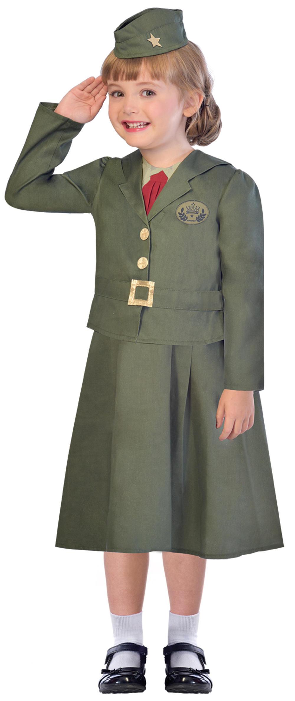 WW2 Soldier Girls Fancy Dress Army Uniform 40s World Book Day Childs Kid Costume