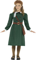 Wartime Girls Fancy Dress British Book Day 40s 1930s Childs Kids Costume Outfit