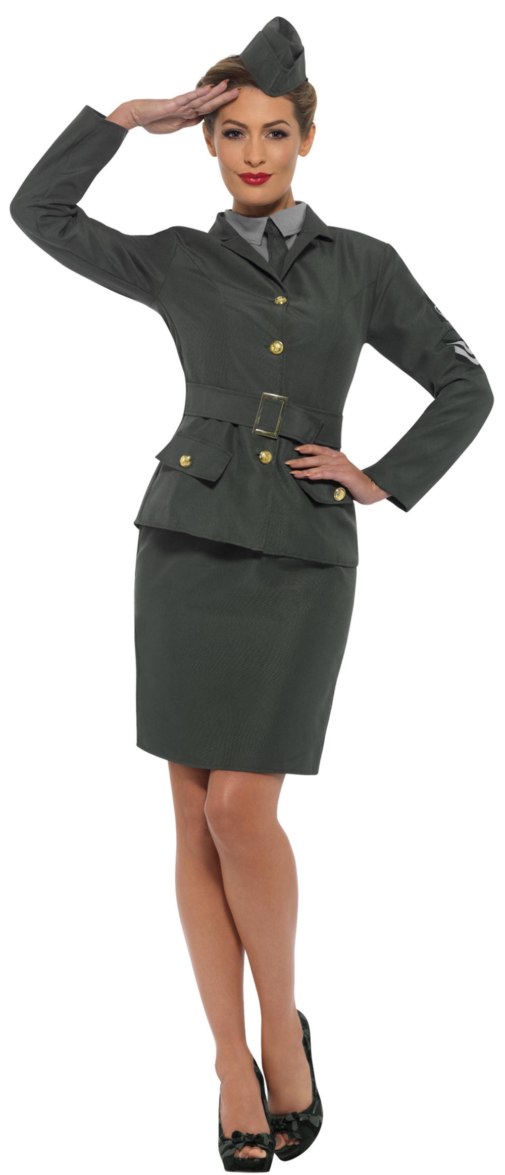 WW2 Army Girl Ladies Fancy Dress Military Soldier Uniform Womens Adults Costume