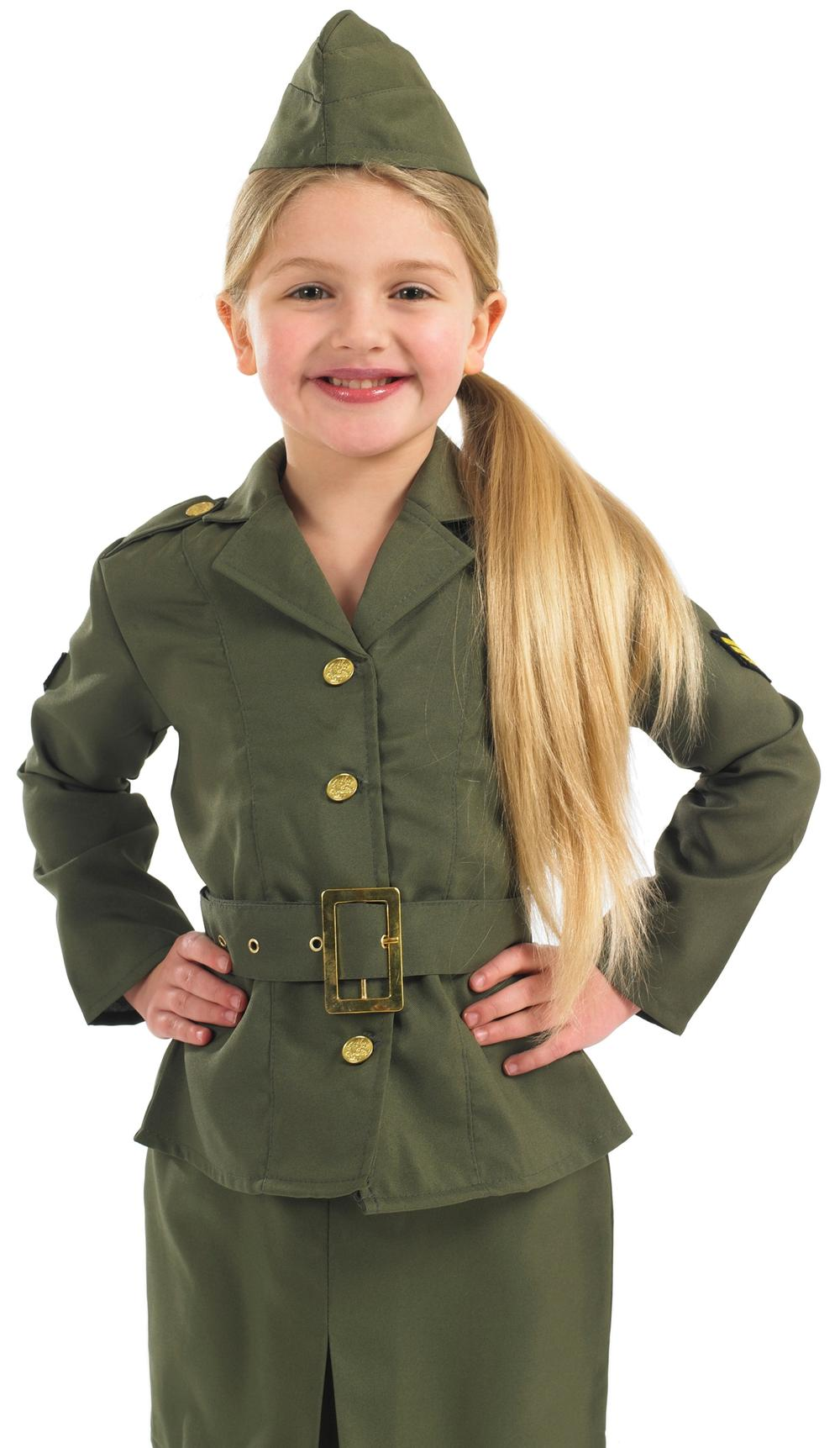 Girls Army Girl 1940s Kids Fancy Dress 30s Military Uniform Childrens Costume