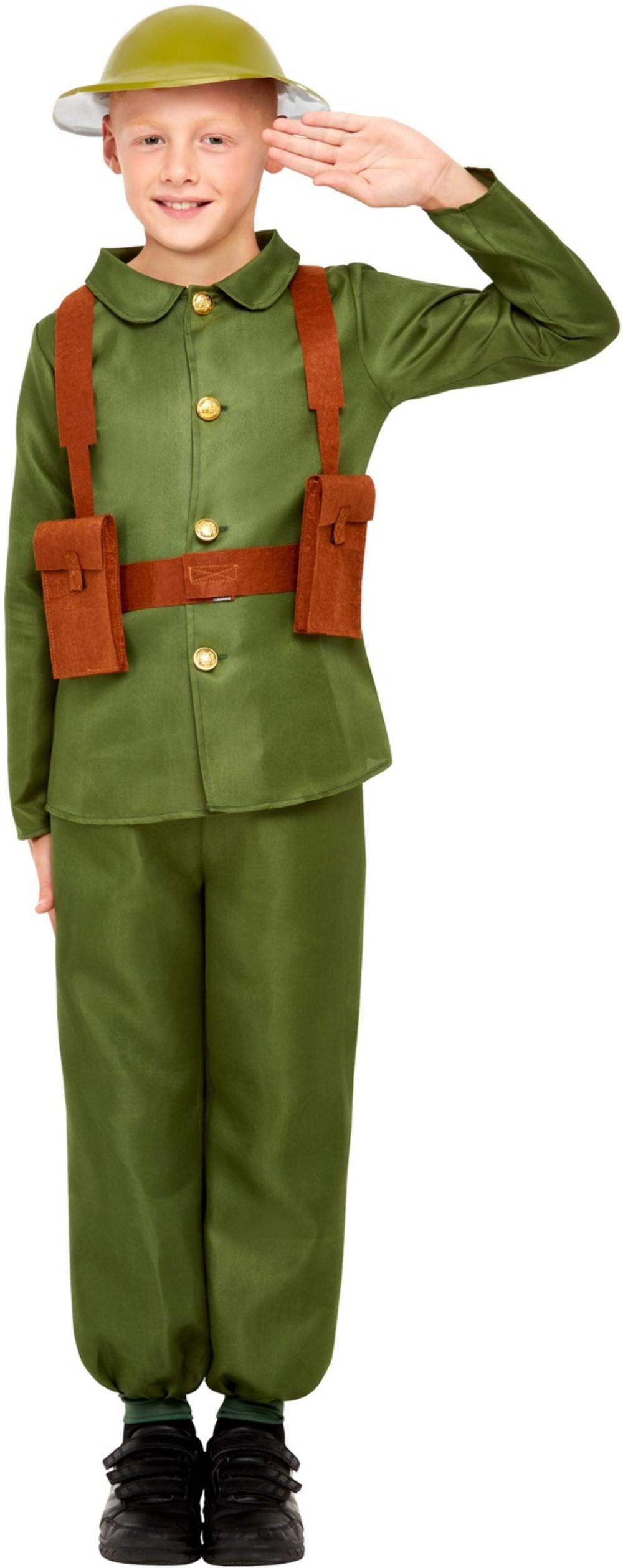 WW1 Soldier Boys Fancy Dress Wartime Army Uniform Kids World Book Day Costume