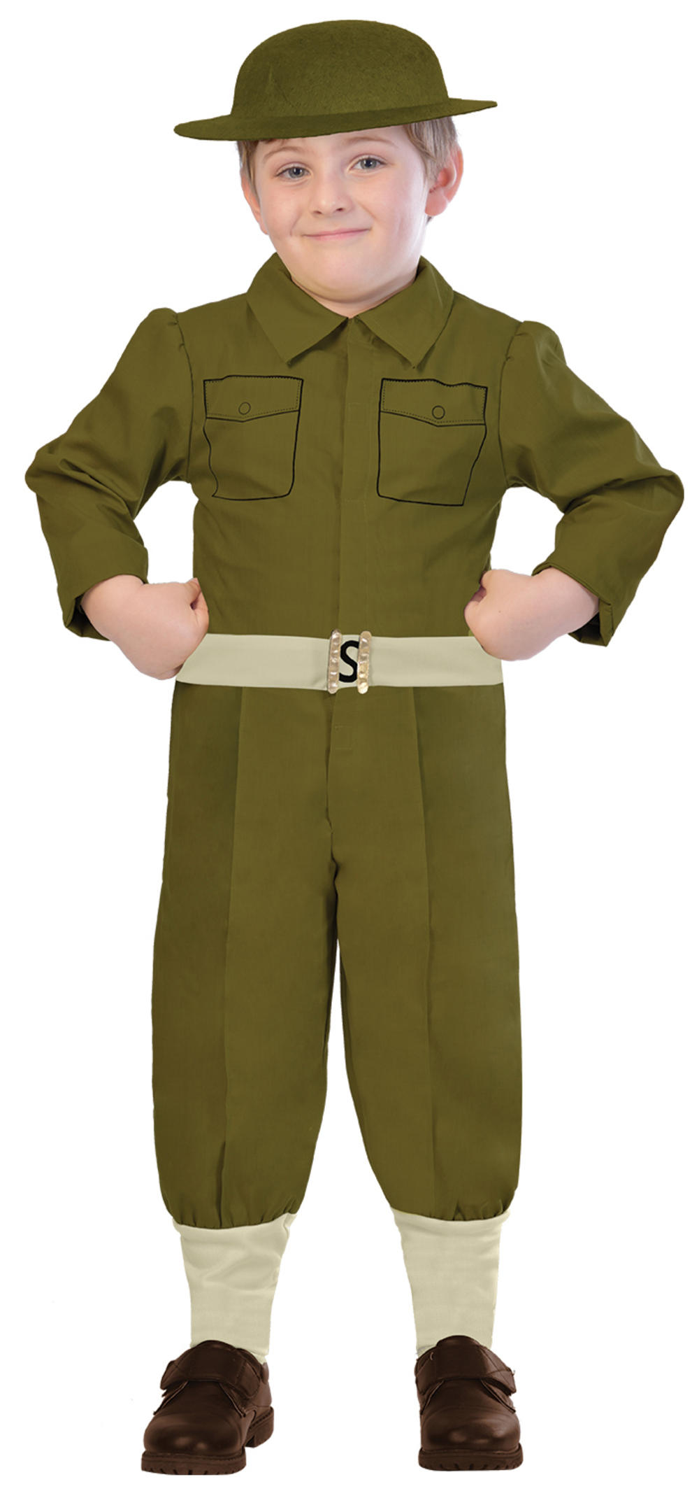 WW1 Soldier Boys Fancy Dress Military Army Wartime 1910s Kids Childrens Costume