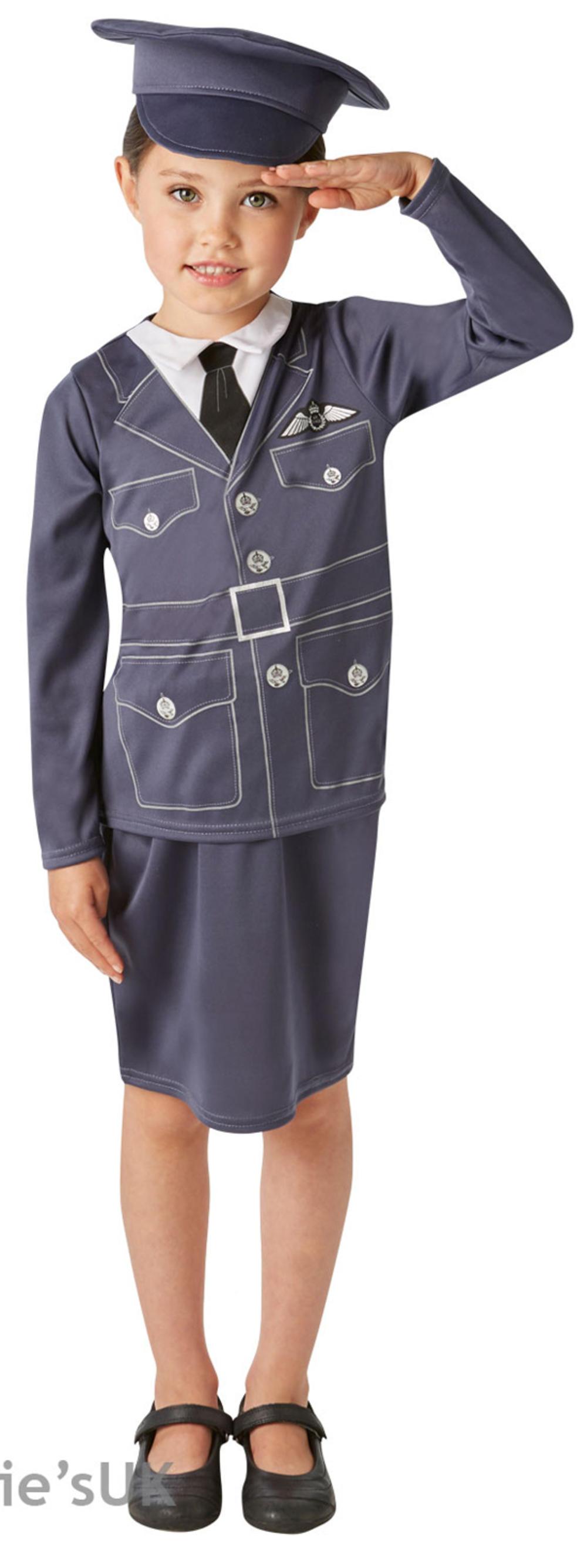 WRAF Girls Fancy Dress RAF Pilot Uniform Occupation WW2 Kids Childs 1940 Costume