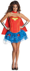 Sexy Wonder Woman Ladies Fancy Dress Marvel Superhero Adults Costume Outfit