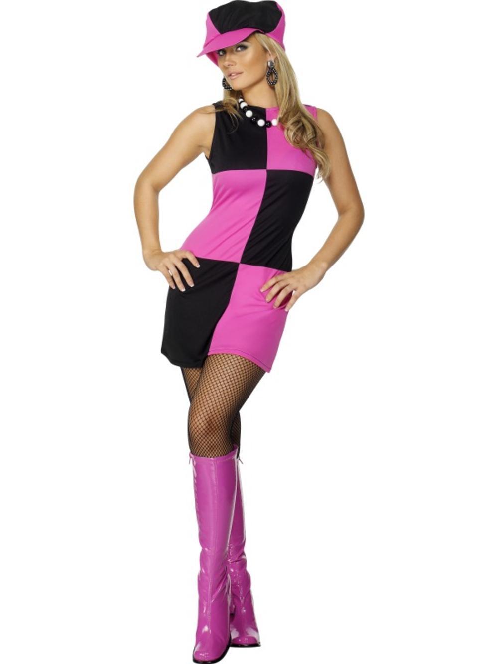 Swinging 60's Costume Ladies 1960s Womens Retro Fancy Dress Outfit New UK 8-18