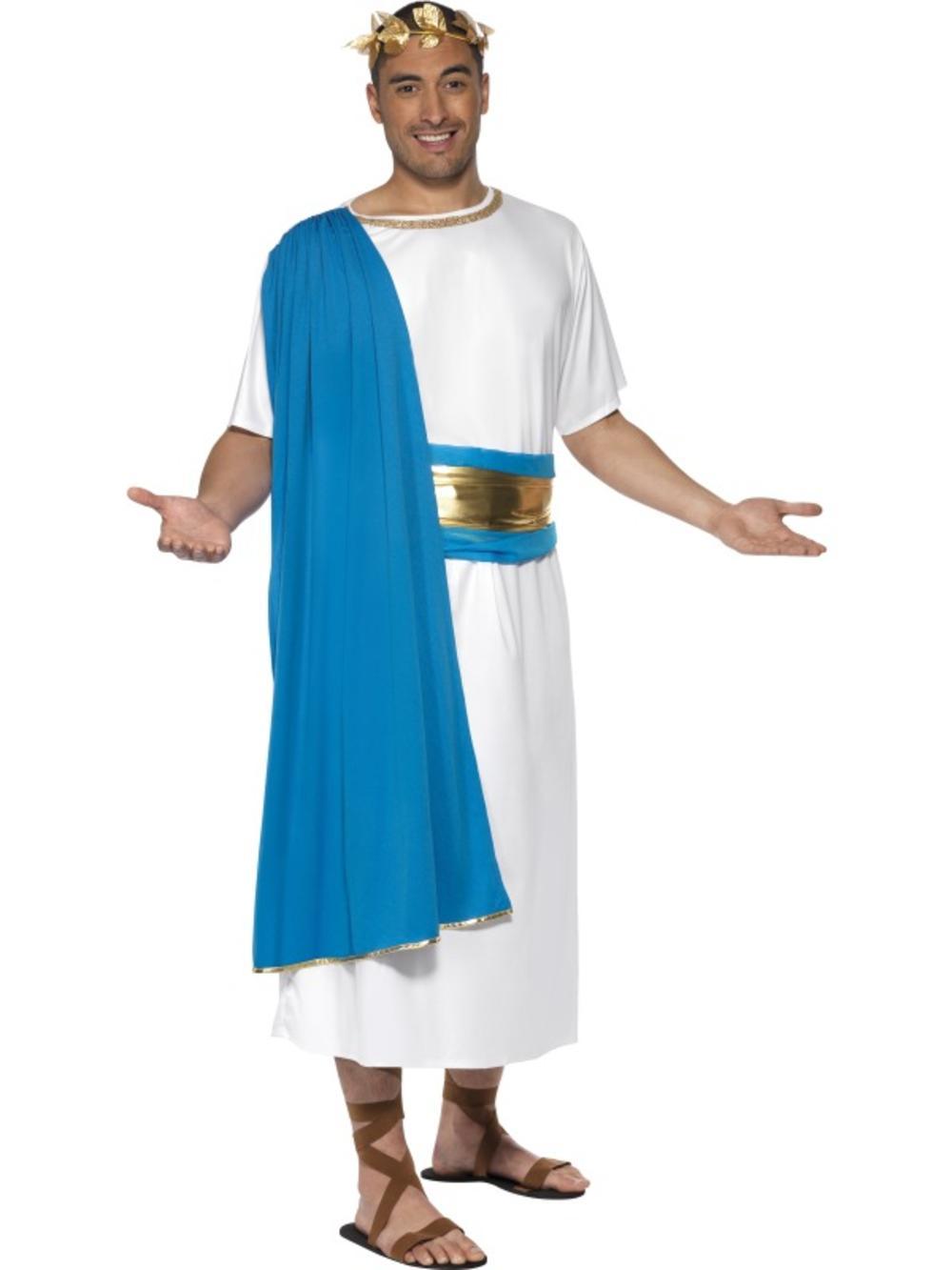 Roman Senator Mens Fancy Dress Julius Cesar Greek Grecian Adults Costume Outfit