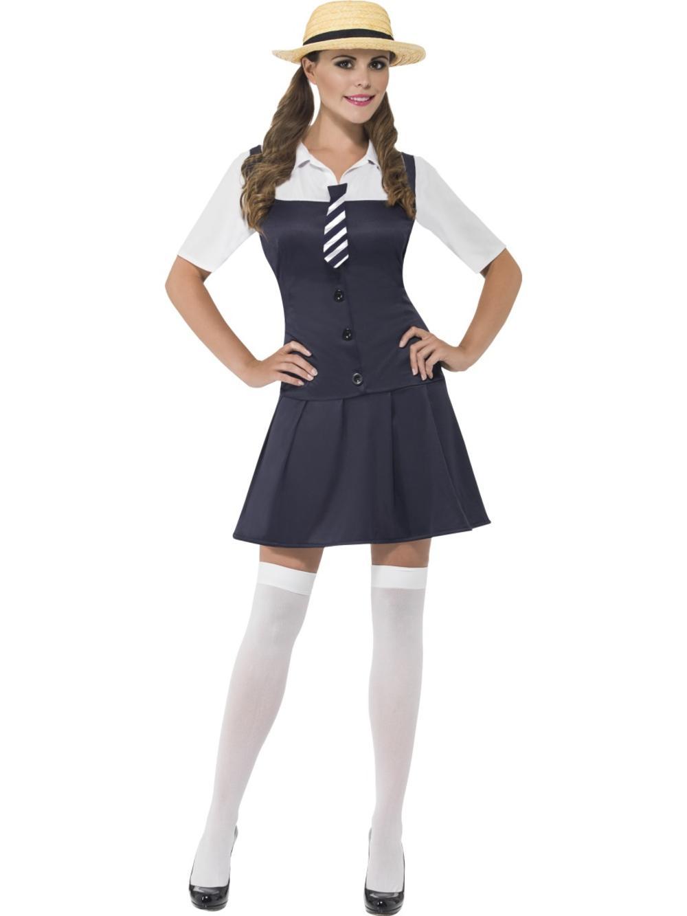 School Girl + Hat Ladies Fancy Dress Uniform St Trinians Womens Adult Costume