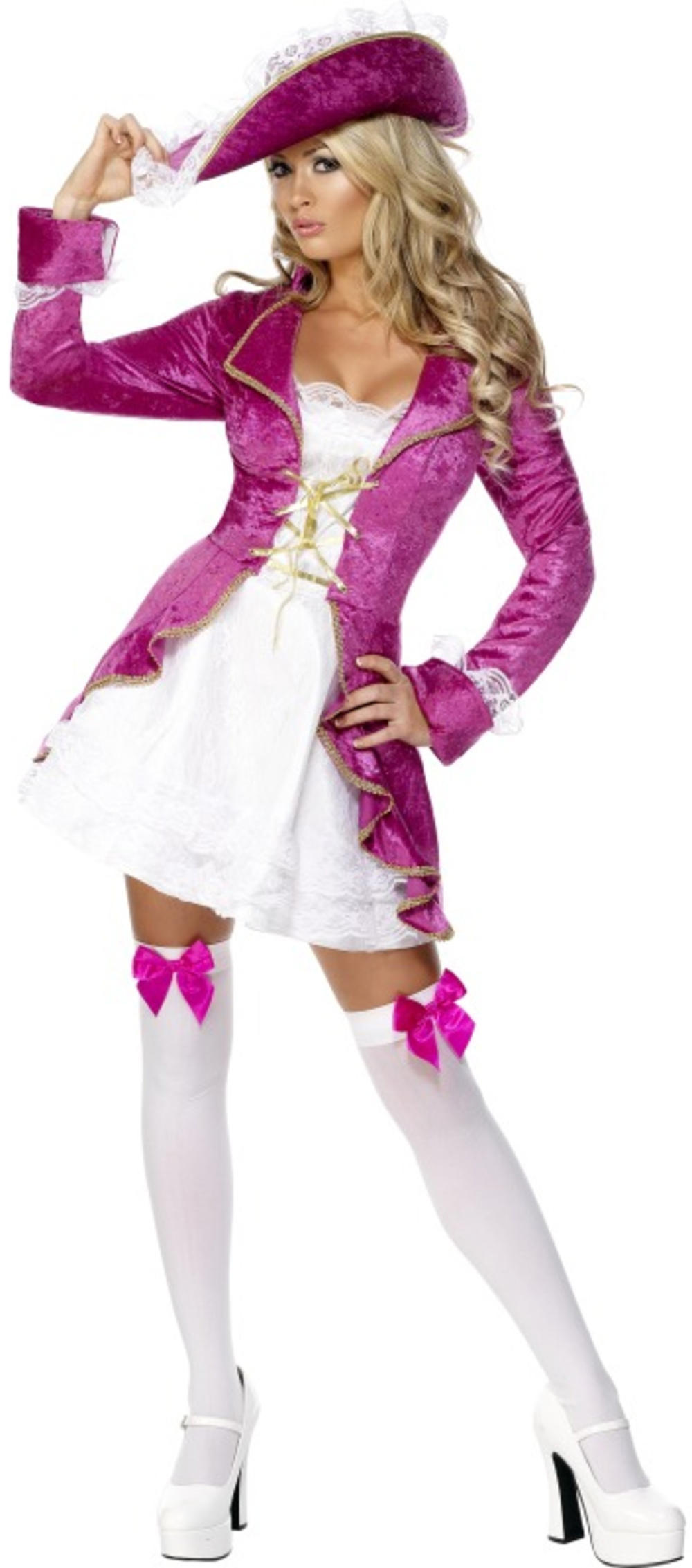 Pink Pirate Treasure Ladies Fancy Dress Pirates Womens Costume Adult Outfit New