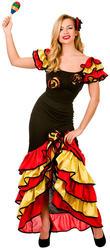 Spanish Rumba Dancer Ladies Fancy Dress Salsa Flamenco Womens Adults Costume New