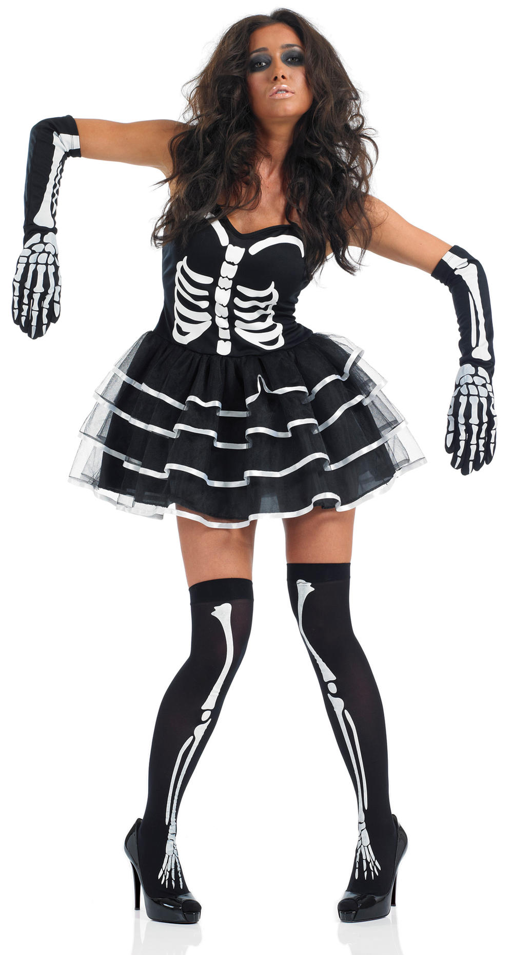 Sexy Skeleton + Stockings Halloween Ladies Fancy Dress Womens Adult Costume New