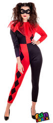 Harlequin Ladies Fancy Dress Jester Clown Adults Womens Halloween Costume Outfit
