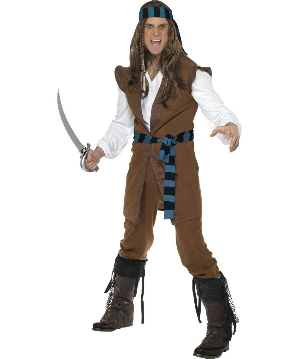 Captain Caribbean Pirate Mens Fancy Dress Buccaneer Book Day Adults Costume New