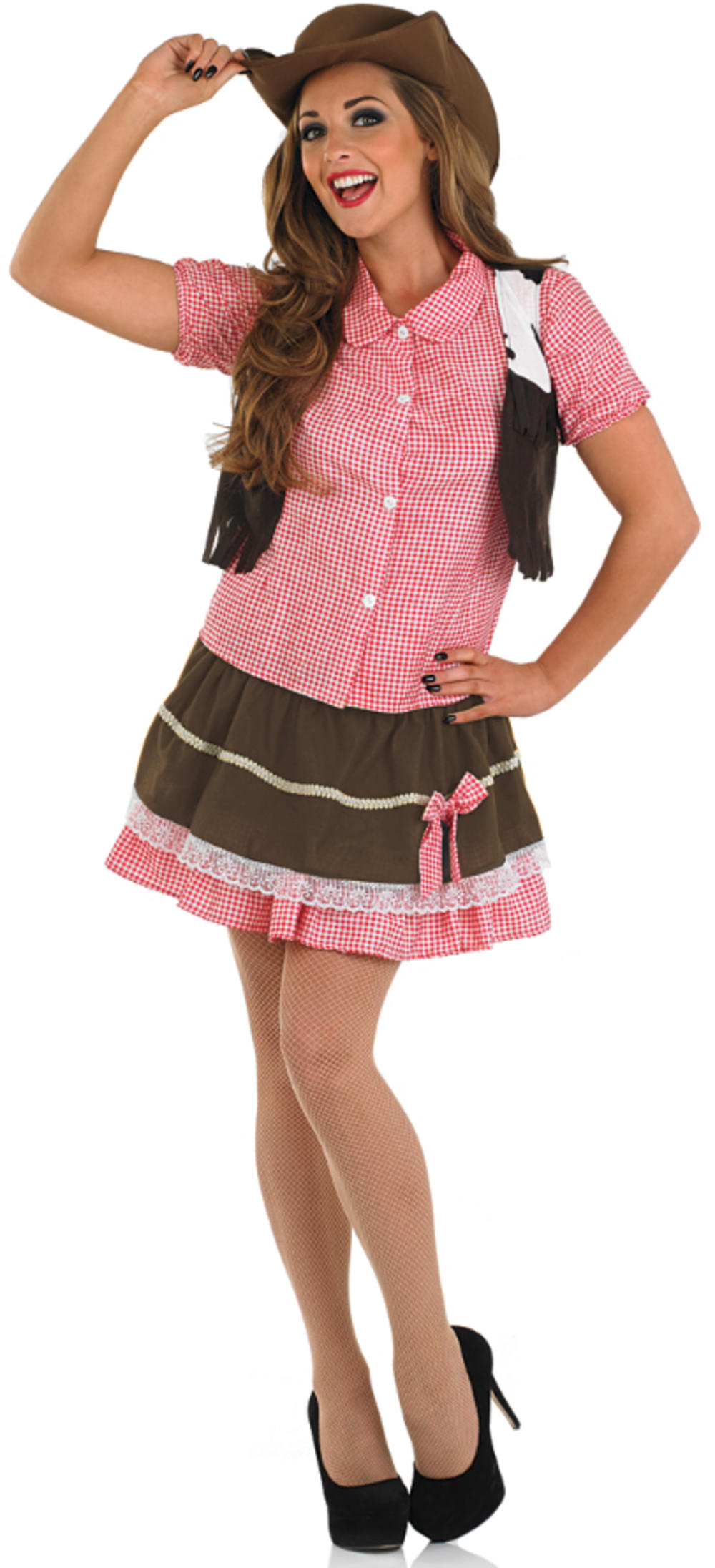 Cute Cowgirl + Cowboy Hat Ladies Fancy Dress Western Womens Adults Party Costume