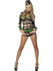 Sexy Combat Chick Army Girl Ladies Military Uniform Fancy Dress Womens Costume
