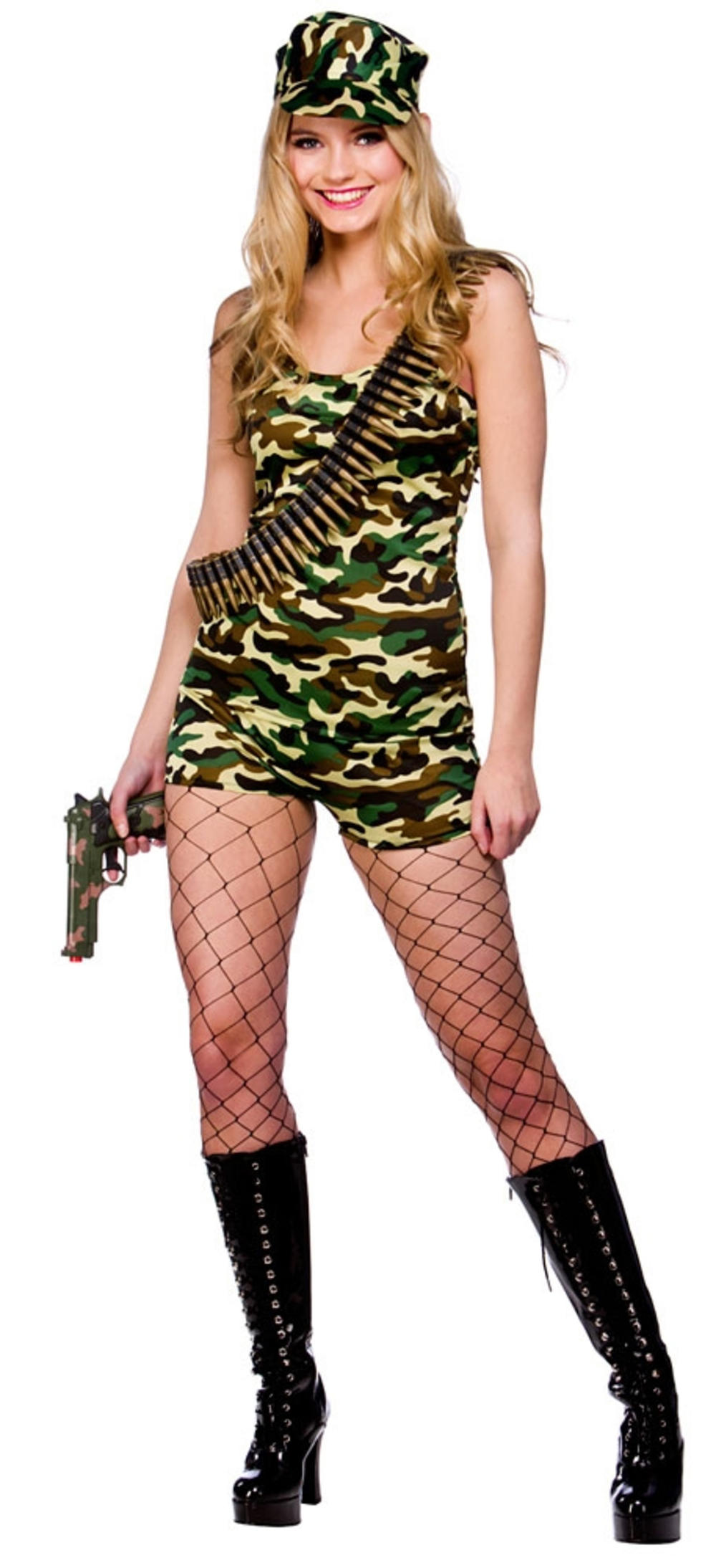 Camo Bootcamp Babe Ladies Army Fancy Dress Womens Military Uniform Adult Costume