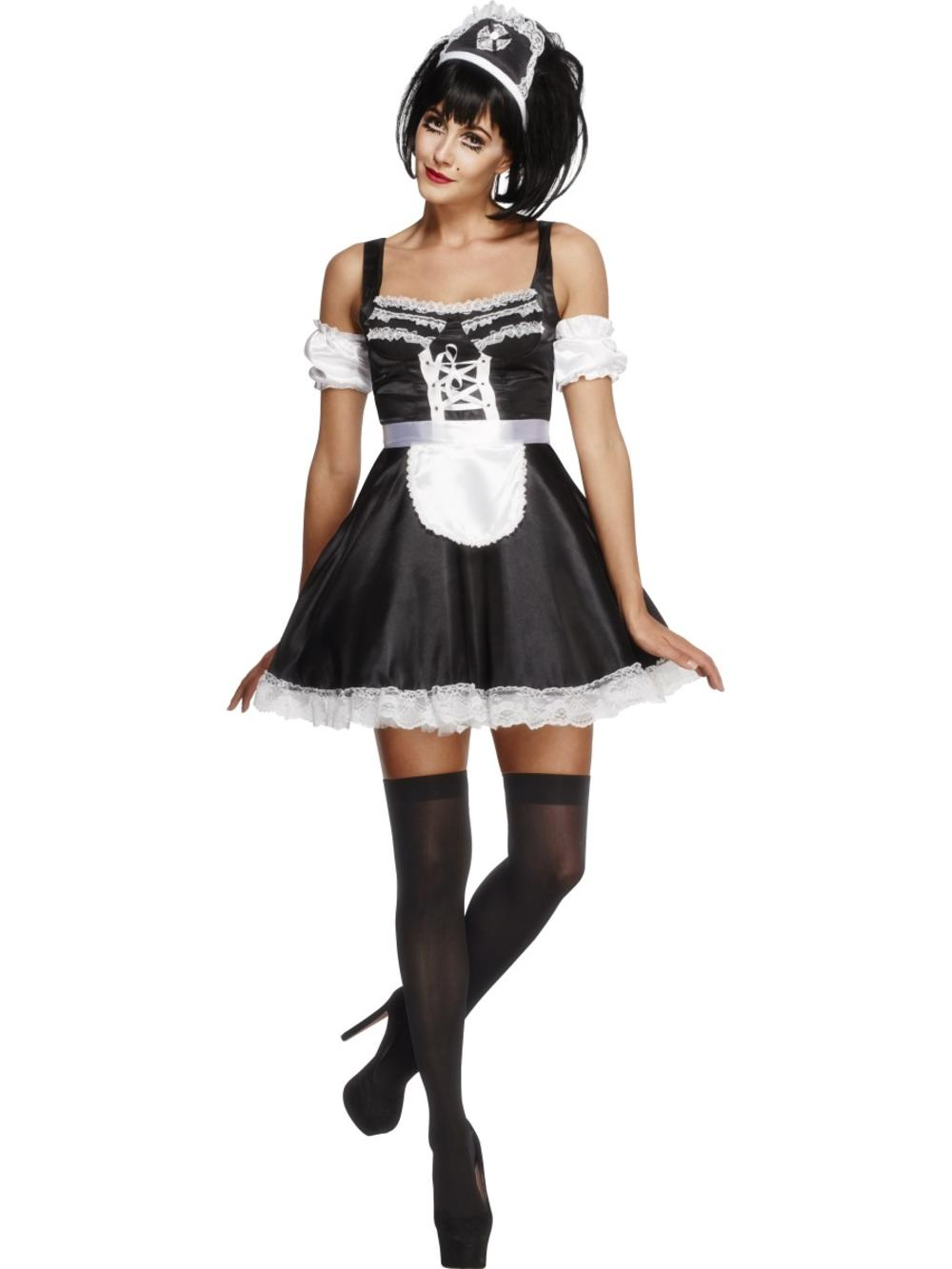 French Maid Ladies Fancy Dress Waitress Uniform Hen Night Womens Adults Costume