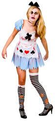 Zombie Alice Ladies Halloween Fancy Dress Womens Fairytale Horror Adults Costume
