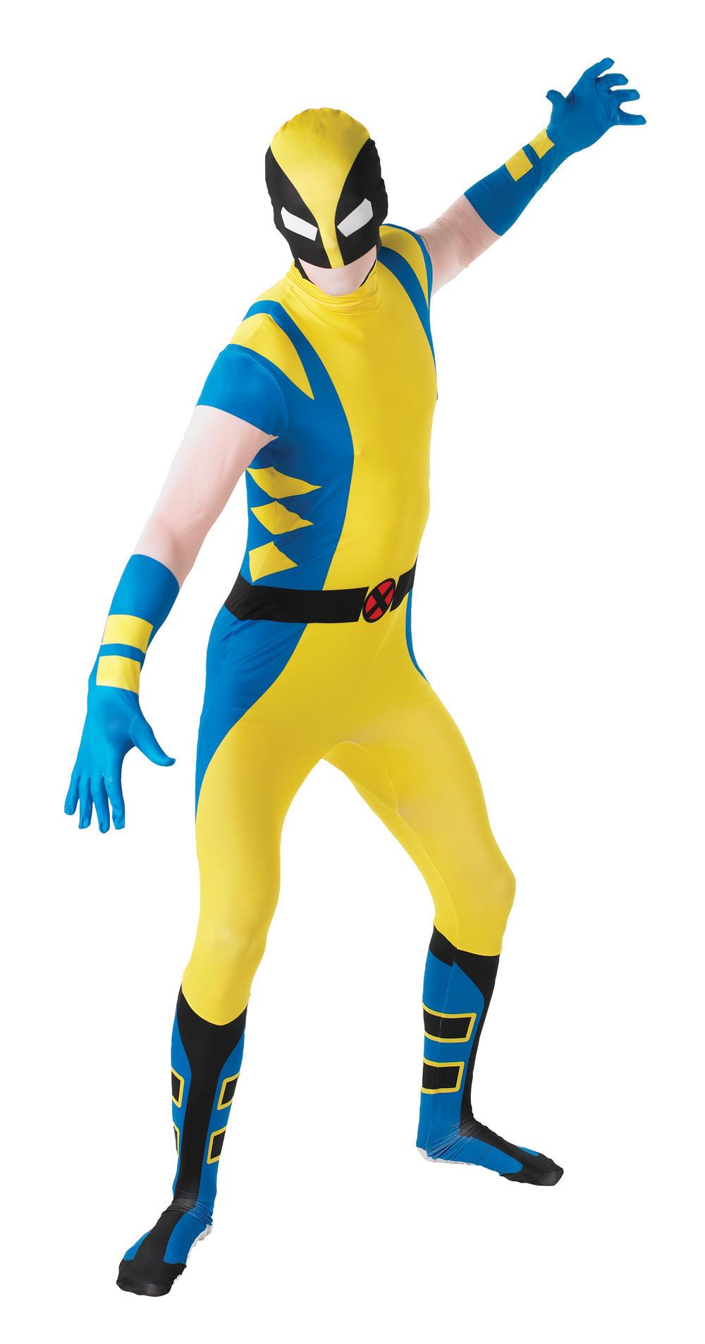 Wolverine 2nd Skin Body Suit Fancy Dress Superhero Halloween Mens Adult Costume