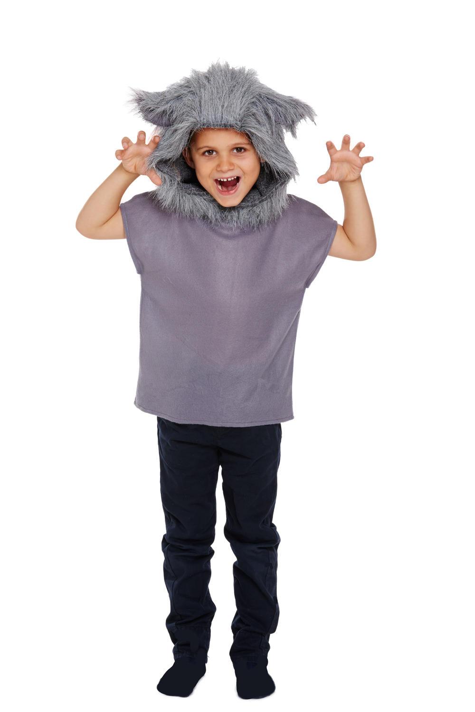 Wolf Kid Fancy Dress Wild Big Bad Animal Fairy Tale Story Book Day Child Costume
