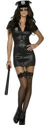 Sexy Cop + Hat Ladies Fancy Dress Police Officer Uniform Womens Costume Outfit