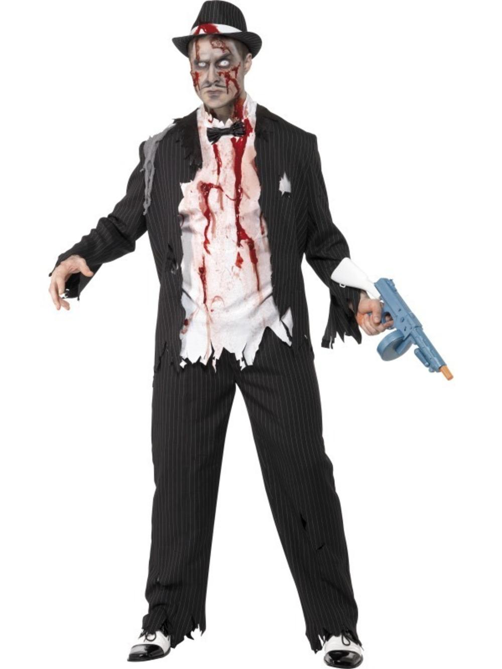Zombie Gangster Mens Halloween 20s Fancy Dress Adult Costume 1920s Outfit M/L