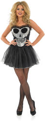 Glitzy Skull Tutu Ladies Fancy Dress Halloween Skeleton Adults Costume Outfit