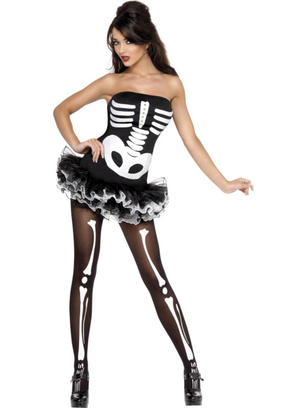 Sexy Skeleton Tutu 6-18 Ladies Fancy Dress Halloween Party Adult Womens Costume