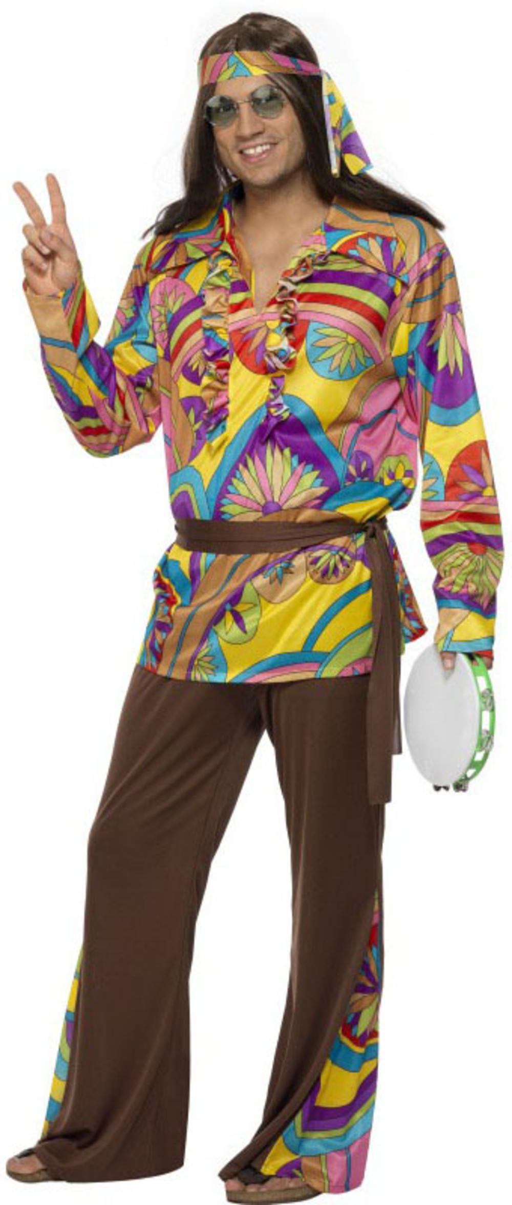 Groovy Hippie Mens Fancy Dress 60s 70s Psychedelic Hippy Adults Costume Outfit