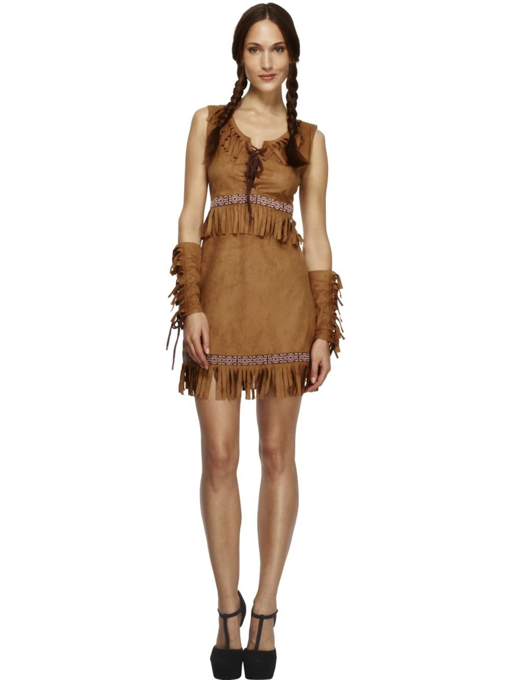 Fever Pocahontas Ladies Fancy Dress Native American Indian Womens Adults Costume