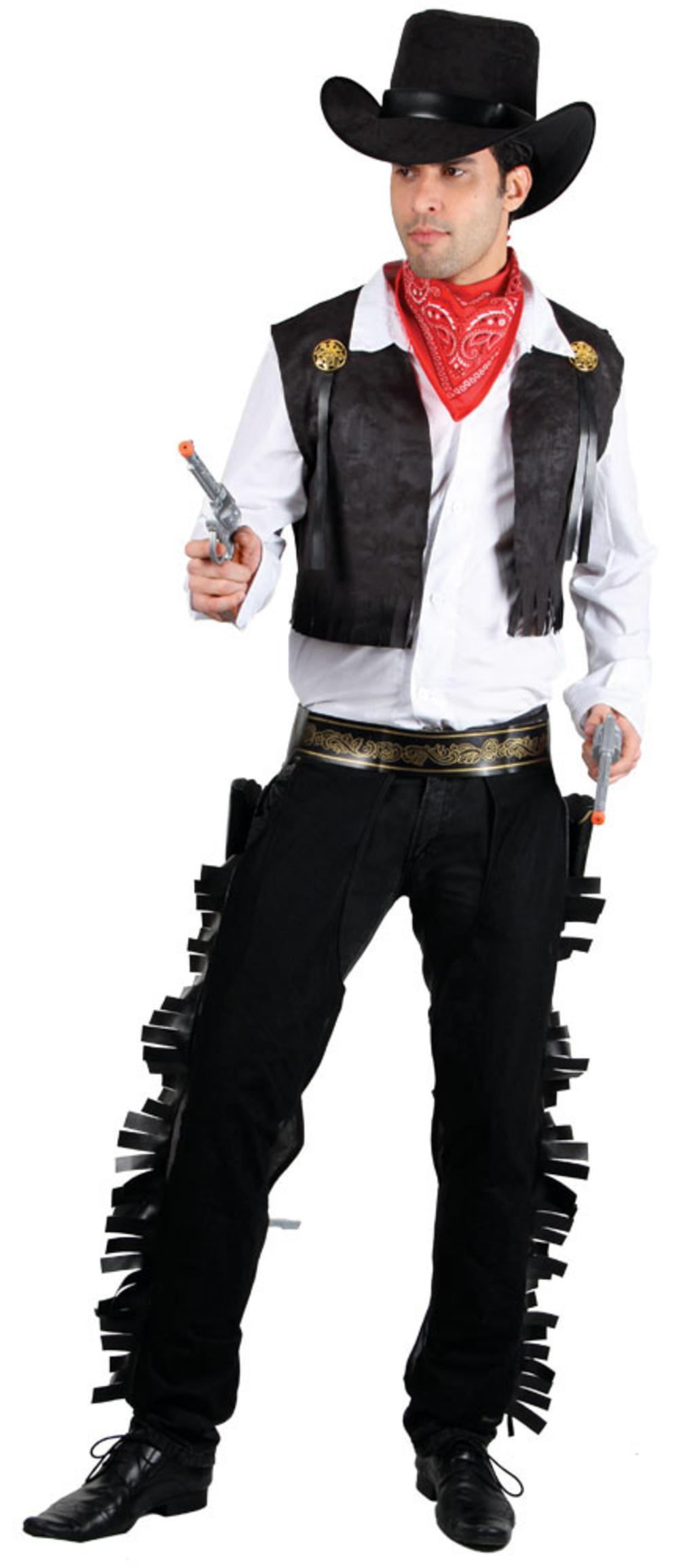 Wild West Cowboy + Hat Mens Fancy Dress Western Gunslinger Adults Costume Outfit