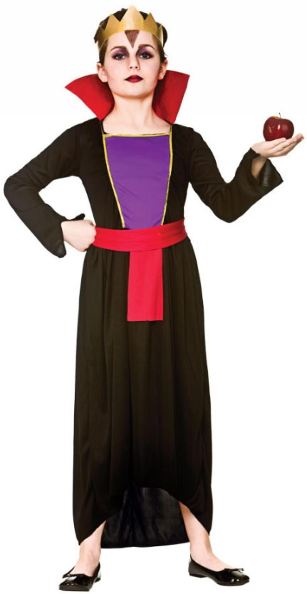 Wicked Queen Girls Fancy Dress Fairytale Villain Halloween Childrens Kid Costume