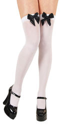 White Thigh Highs with Black Bow Women's Costume Accessory