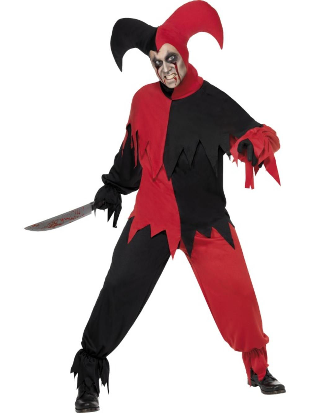 Evil Jester Mens Fancy Dress Circus Horror Clown Adults Halloween Costume Outfit