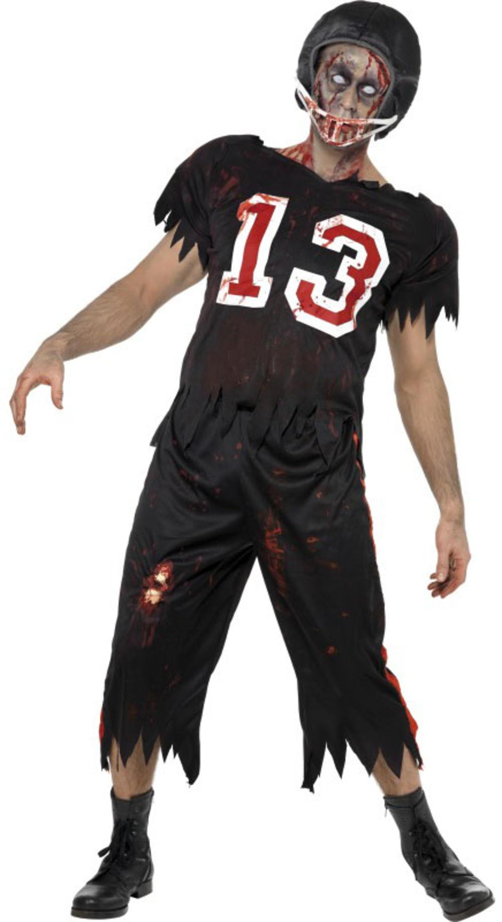 Zombie Footballer Mens Fancy Dress Halloween High School Adults Costume Outfit