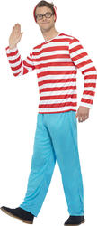 Where's Wally Mens Fancy Dress Book Day Week Adult Stag Party Costume Outfit New