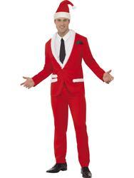 Santa Cool Suit Fancy Dress Mens Christmas Adult Xmas Costume Outfit + Hat