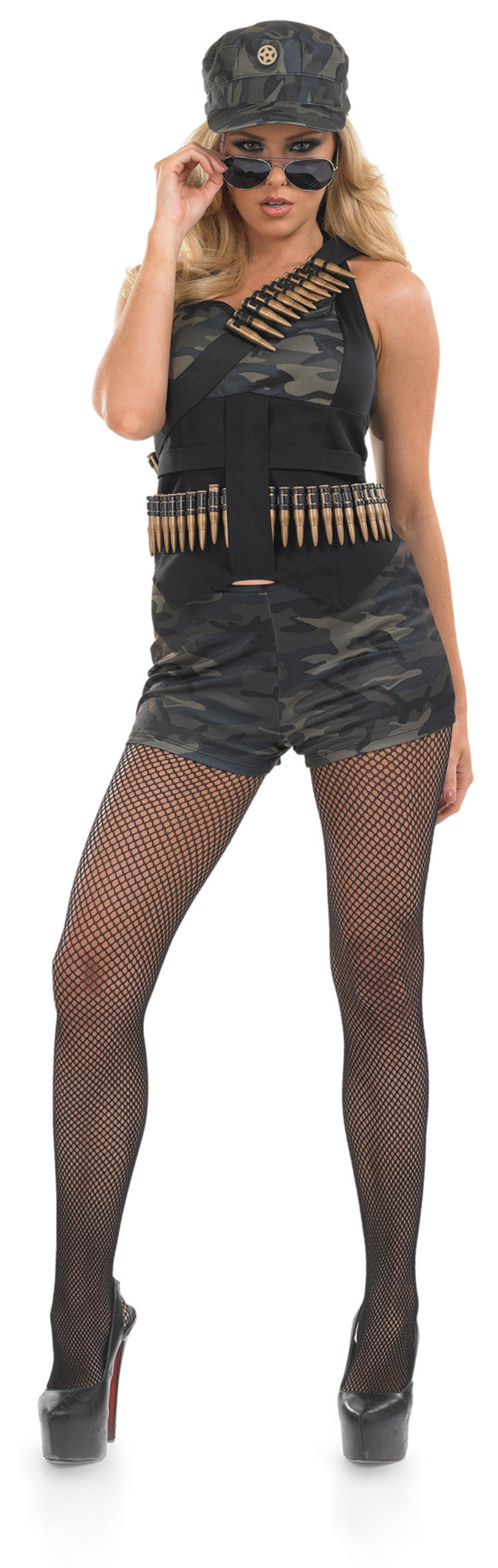Sexy Hot Pants Army Ladies Fancy Dress Military Camo Uniform Adults Sexy Costume